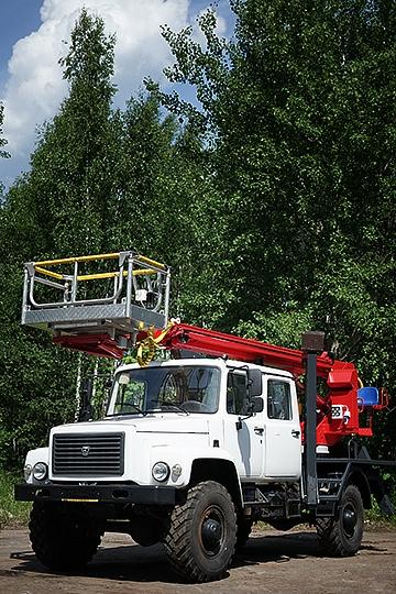 Автовышка ПСС-131.18Э на шасси ГАЗ 33086 5-ть мест (алюминий)