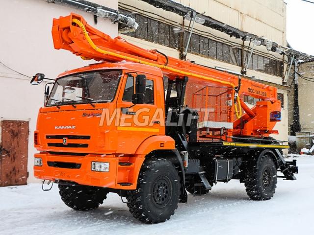 Автовышка ПСС-141.29Э на шасси КАМАЗ 43502